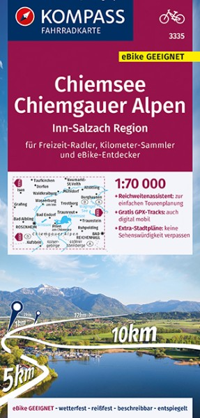 KOMPASS Fahrradkarte Chiemsee,Chiemgauer Alpen