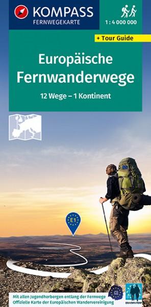 KOMPASS Fernwegekarte Fernwanderwege Europa
