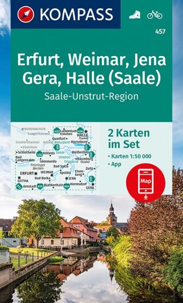 KOMPASS Wanderkarte Erfurt, Weimar, Jena, Gera