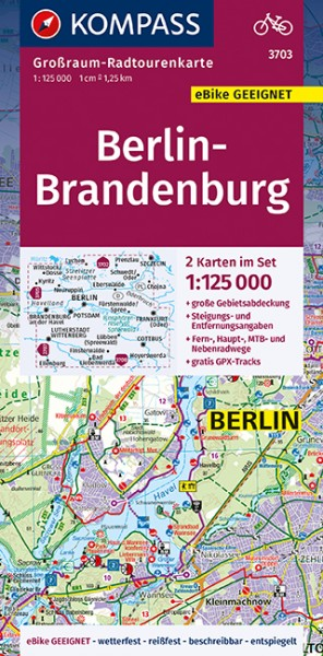 KOMPASS Karte Berlin, Brandenburg