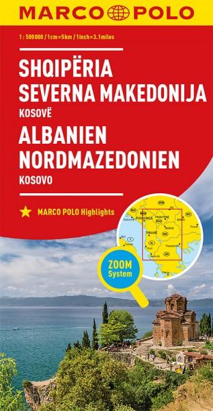 MARCO POLO Länderkarte Albanien, Nordmazedonien