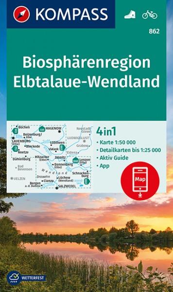 KOMPASS Wanderkarte Biosphärenregion Elbtalaue
