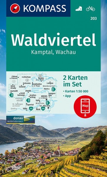 KOMPASS Wanderkarte Waldviertel, Kamptal, Wachau