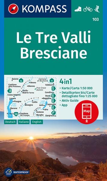 KOMPASS Wanderkarte Le Tre Valli Bresciane