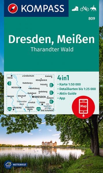 KOMPASS Wanderkarte Dresden,Meißen,Tharandter Wald