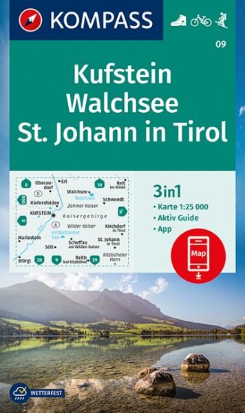 KOMPASS Wanderkarte Kufstein, Walchsee, St. Johann