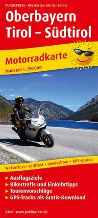 Motorradkarte Oberbayern - Tirol - Südtirol