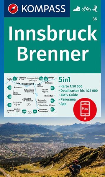 KOMPASS Wanderkarte Innsbruck-Brenner