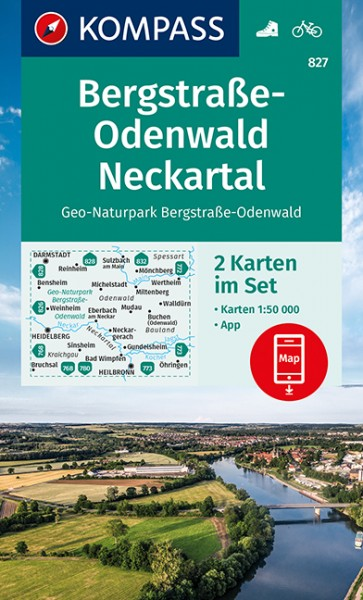 KOMPASS Wanderkarte Bergstraße Odenwald Neckartal