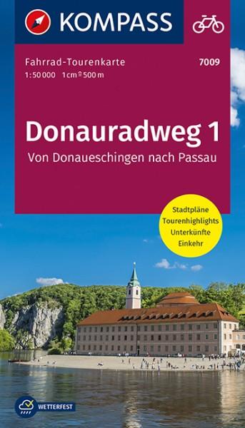 KOMPASS Fahrrad-Tourenkarte Donauradweg 1
