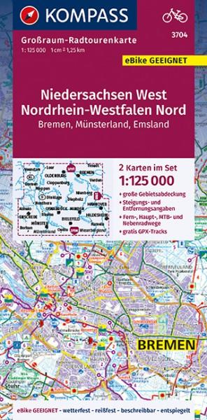 KOMPASS Großraum-Radtourenkarte Niedersachsen West