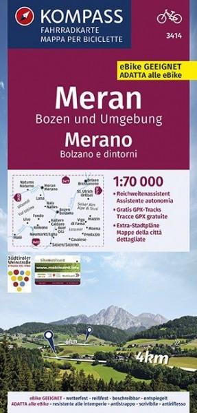 KOMPASS Fahrradkarte Meran, Bozen und Umgebung