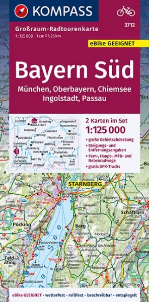 KOMPASS Großraum-Radtourenkarte Bayern Süd