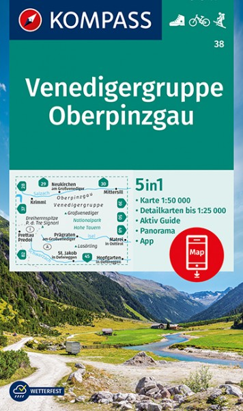 KOMPASS Wanderkarte Venedigergruppe-Oberpinzgau