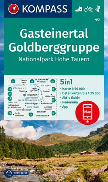 KOMPASS Wanderkarte Gasteinertal, Goldberggruppe