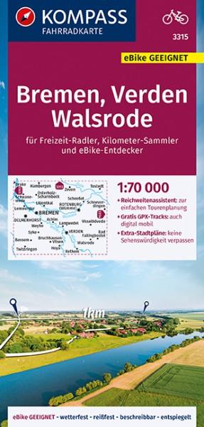 KOMPASS Fahrradkarte Bremen,Verden,Walsrode