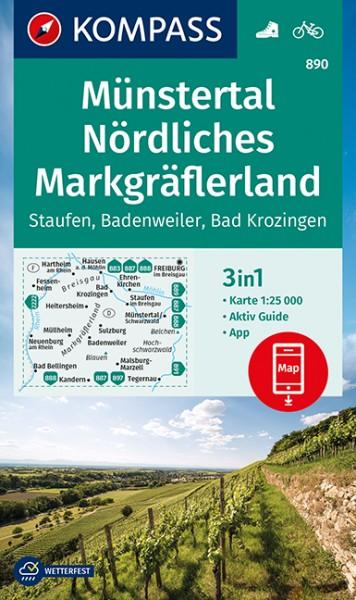 KOMPASS Wanderkarte Münstertal, N. Markgräflerland