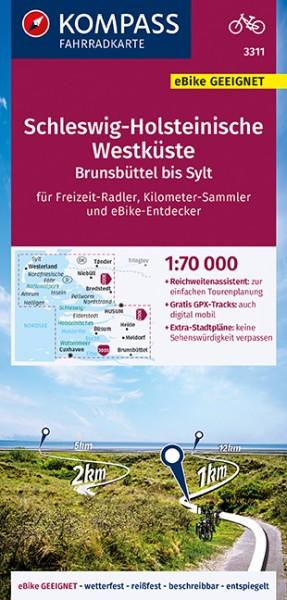 KOMPASS Fahrradkarte Schleswig-Holstein. Westküste
