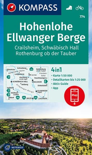 KOMPASS Wanderkarte Hohenlohe, Ellwanger Berge