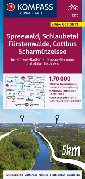 KOMPASS Fahrradkarte Spreewald, Schlaubetal