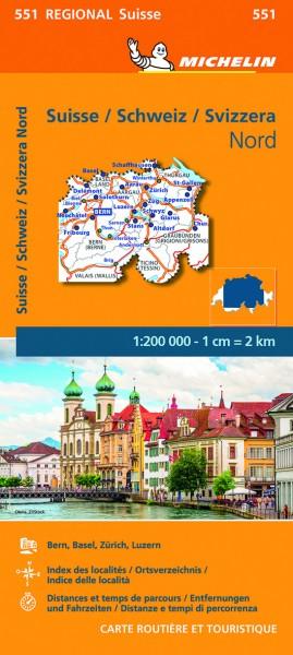 Michelin Regionalkarte Schweiz Nord