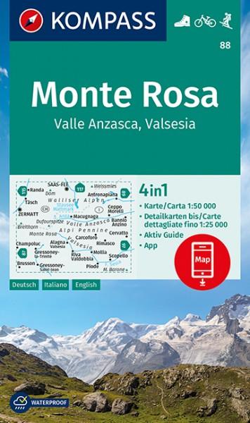 KOMPASS Wanderkarte Monte Rosa, Valle Anzasca
