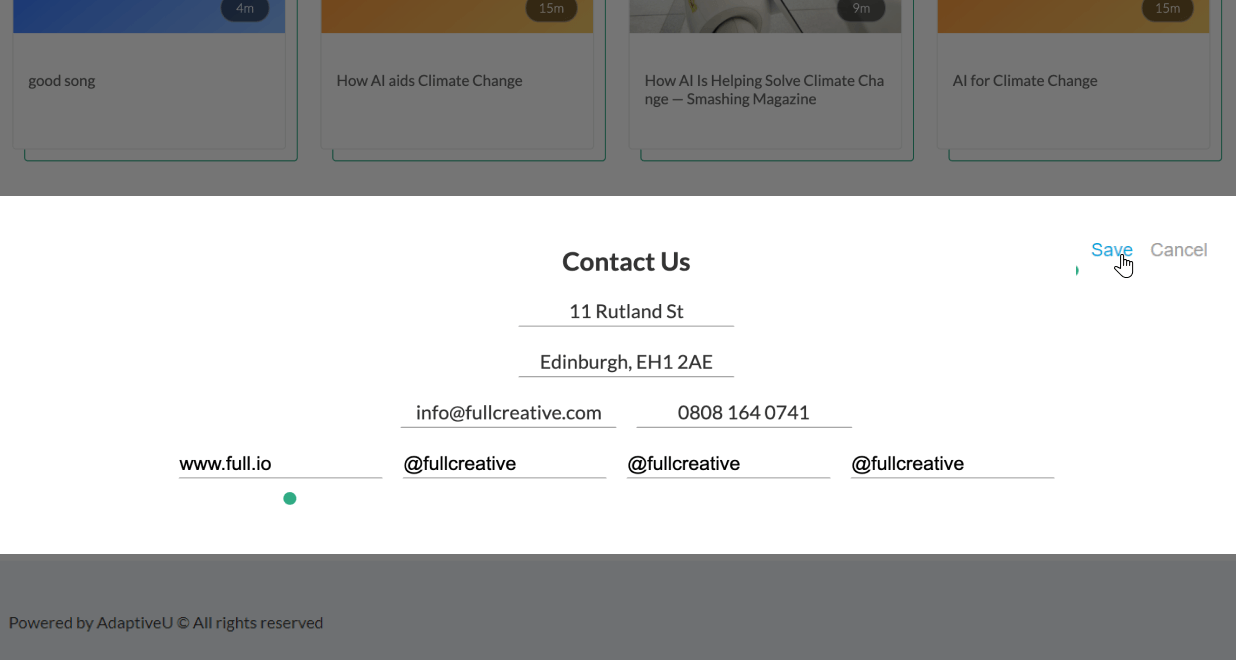 The contact us section on the AdaptiveU page in edit mode to update, edit, or customize the contact details like the complete postal address, email address, phone number, website, and other social media platform information.