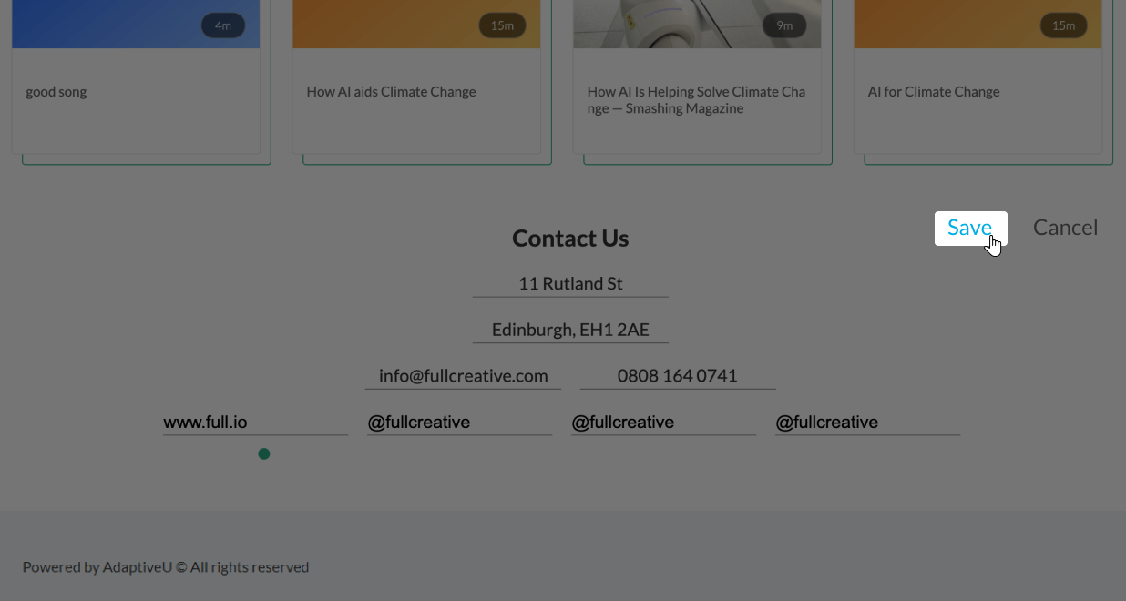 The save button under the contact us section of the AdaptiveU university landing page.