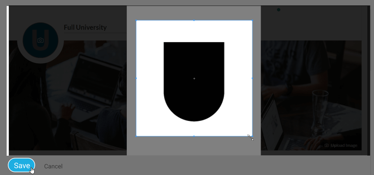 The save button to save the cropped image as the image on the landing page.