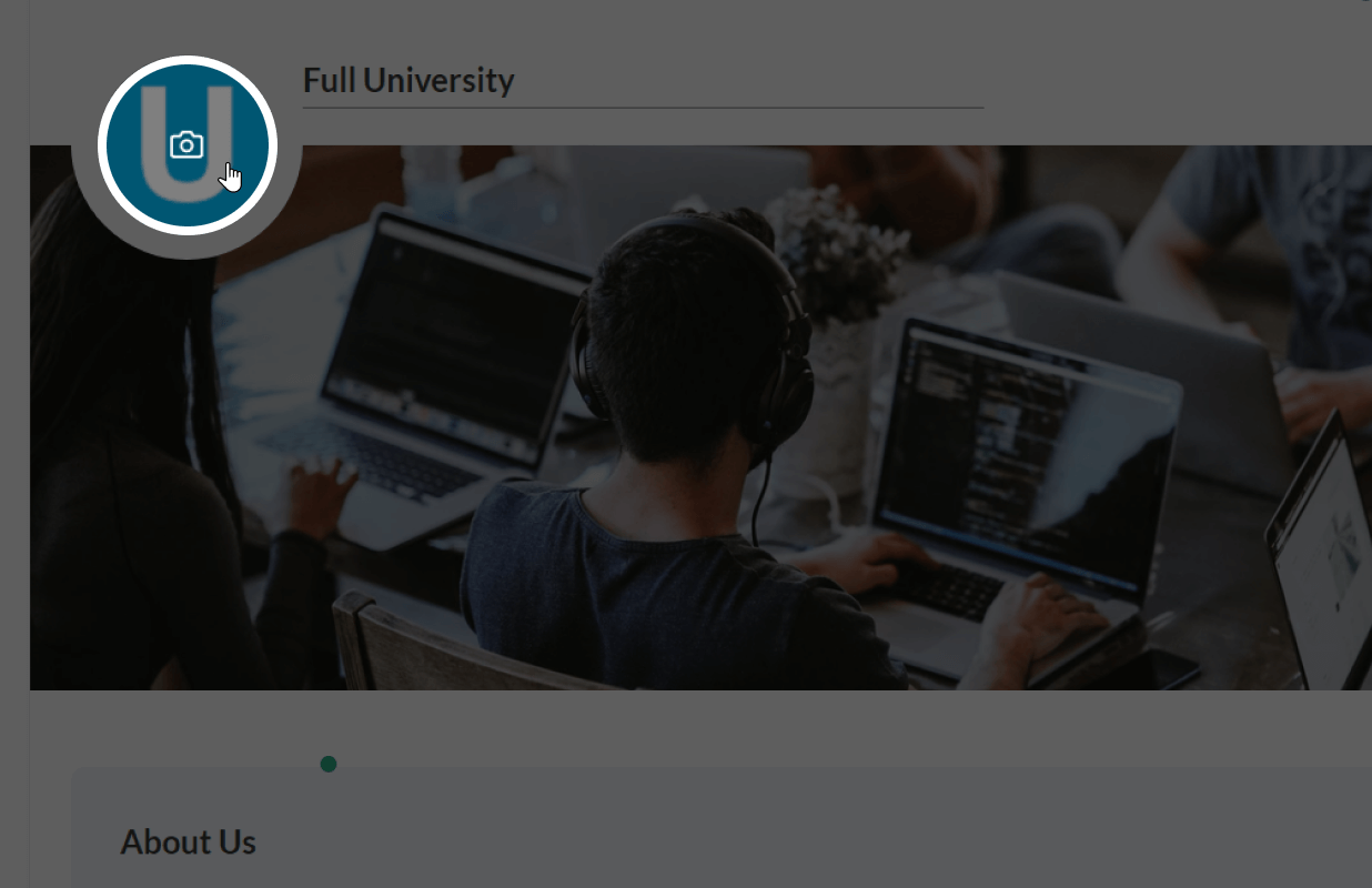 The upload image button on the university landing page to change or upload the AdaptiveU university picture.