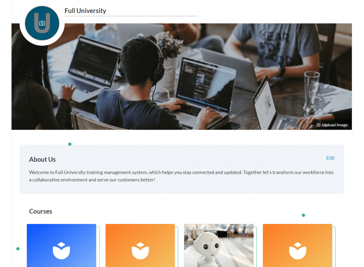 The exclusive landing page of the university created using AdaptiveU