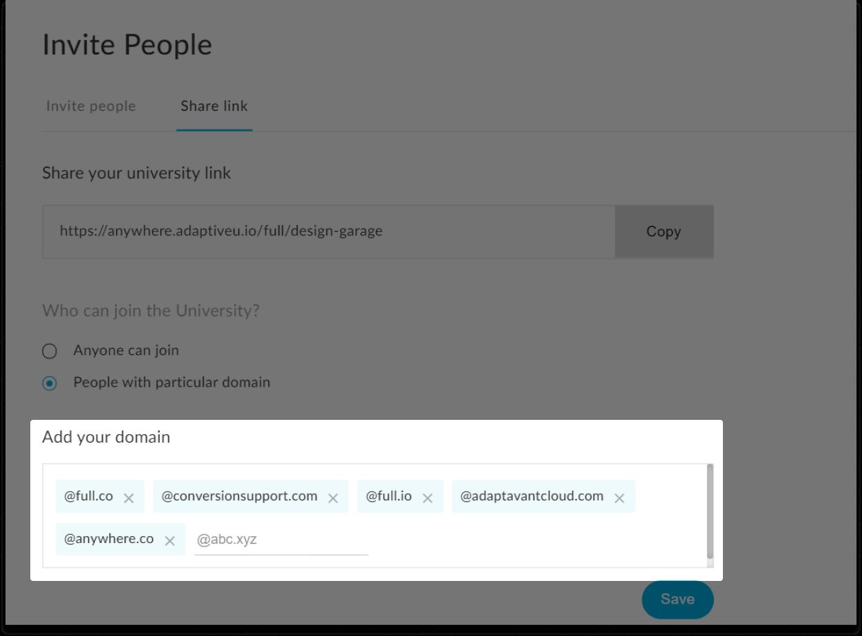 AdaptiveU invite people settings to add your domain