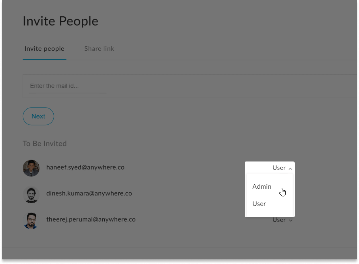 The settings showing edit user access in adaptiveU with the dropdown options admin and user
