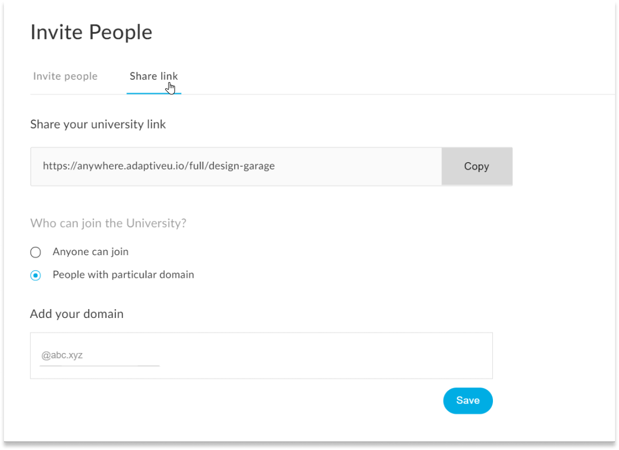 The share link tab in AdaptiveU invite people settings