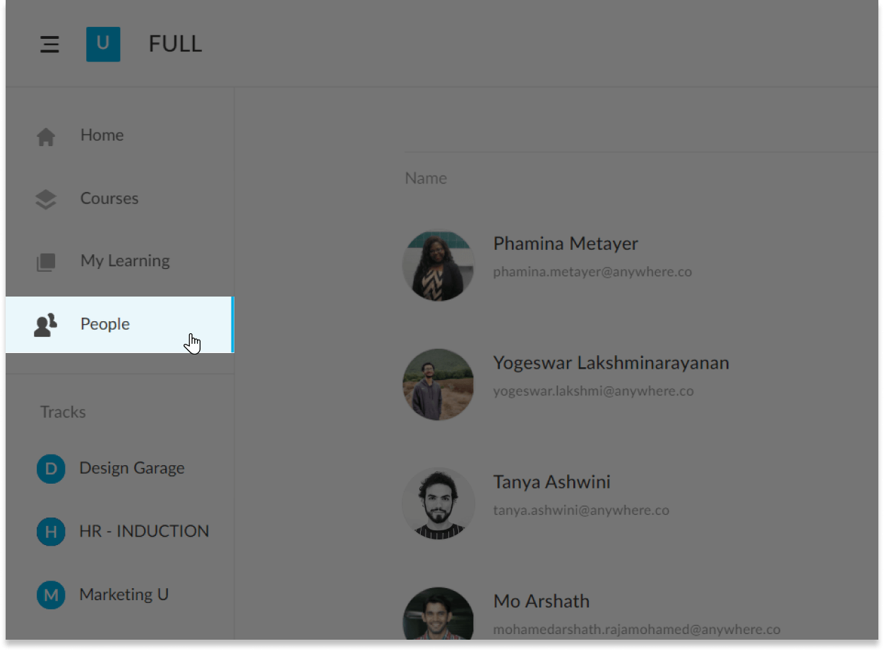 The people tab in AdaptiveU showing a name list of students along with their pictures and email addresses.