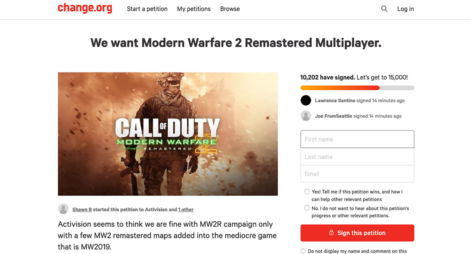 There S Already A Petition Begging For Modern Warfare 2 Remastered