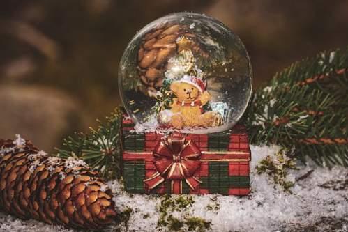 Orsetto con sfera di cristallo tra neve pigne e aghi di pino