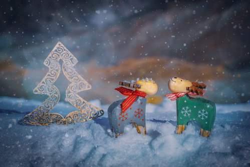 Addobbi e albero di Natale stilizzato sotto la neve