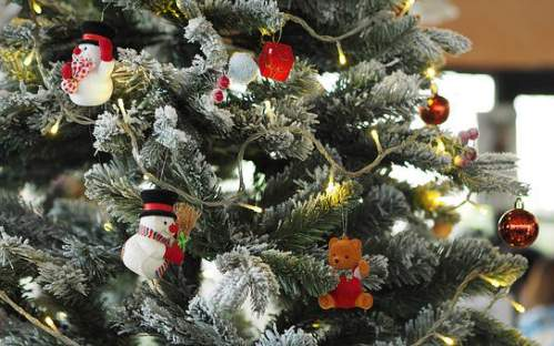 Addobbi natalizi e rami d'albero innevati