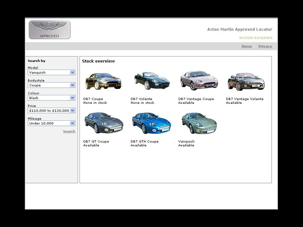 Aston Martin Approved Used Car Locator