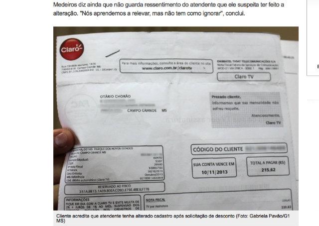 """Cliente da Claro pede desconto e recebe conta em nome de """"Otário Chorão"""""""