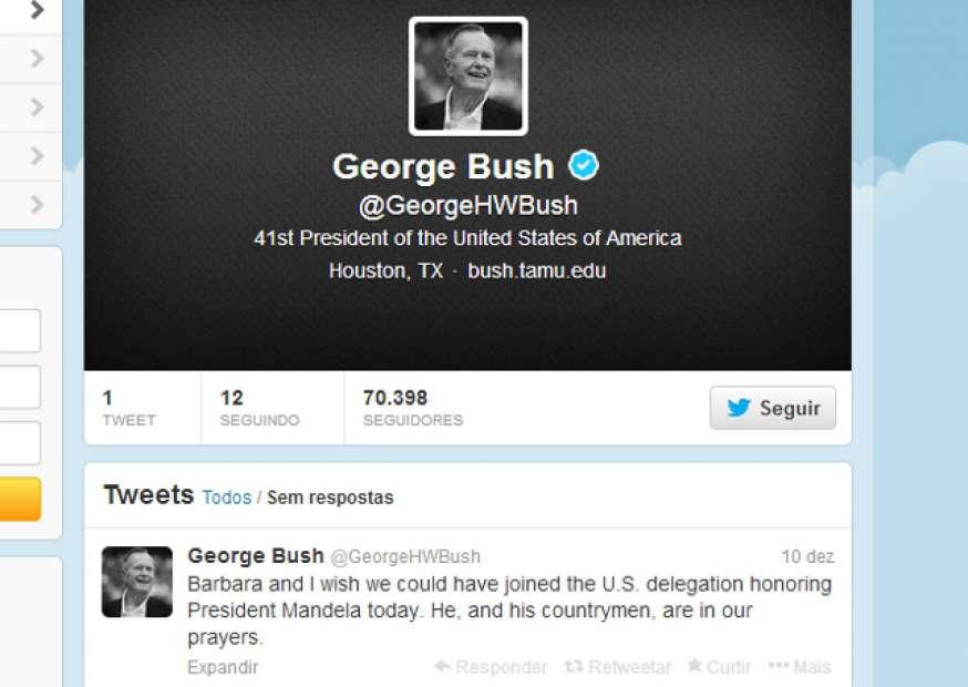 Ex-presidente dos EUA George H.W. Bush abre conta no Twitter