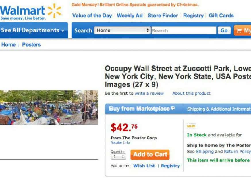 Walmart vende pôster de Occupy Wall Street