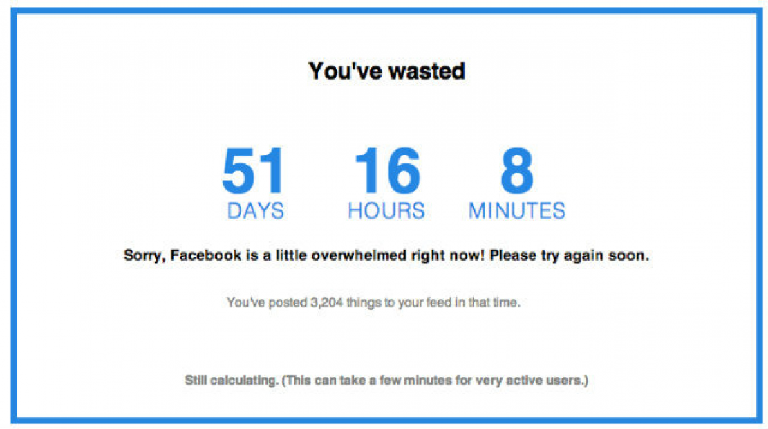 Aplicativo mostra quanto tempo você já perdeu no Facebook