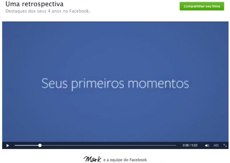 Facebook lança página em que usuários podem assistir à própria retrospectiva na rede