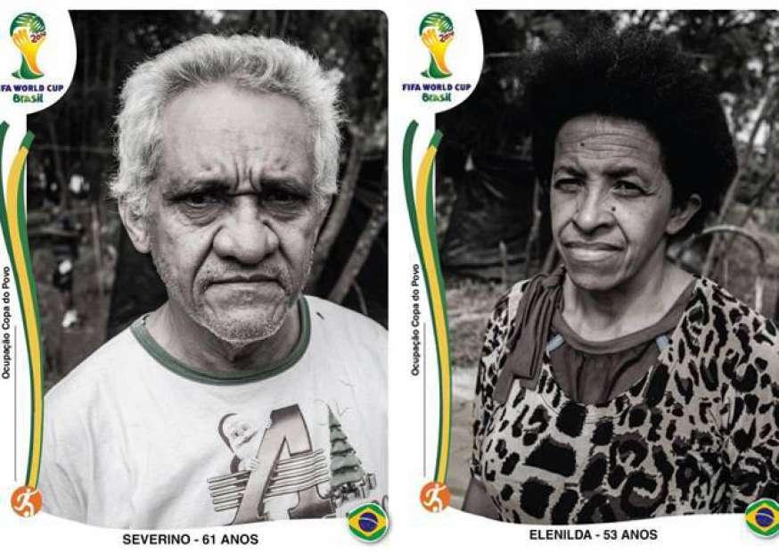 Fotógrafos recriam figurinhas da Copa com imagens de desabrigados
