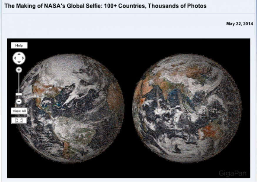 """Nasa revela """"selfie global"""", um mosaico de fotos das mídias sociais"""