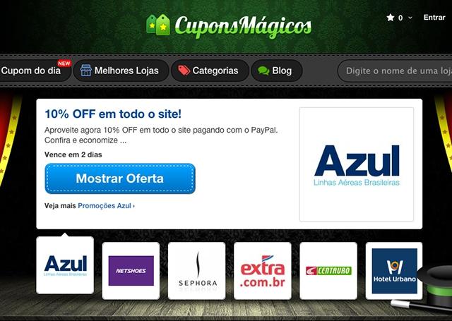0b2291aa3 Site Cupons Mágicos oferece descontos em diversas lojas online do Brasil