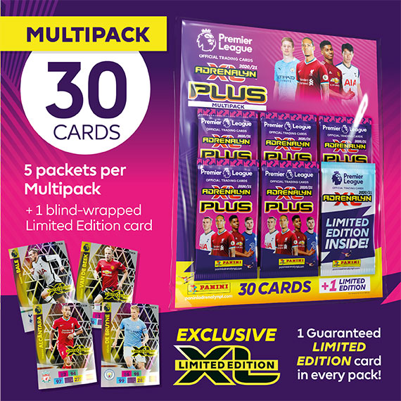 Multipack 30 cards: 5 packets per multipack + 1 blind-wrapped Limited Edition card. 1 Guaranteed LIMITED EDITION card in every pack!