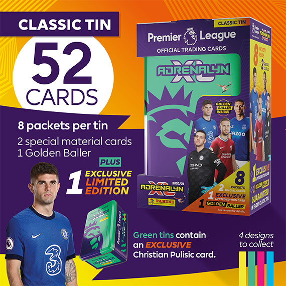 Classic Tin with 52 cards: 8 packets per tin, 2 special material cards, 1 Golden baller + 1 exclusive Limited Edition. Green tins contain an EXCLUSIVE Christian Pulisic card.
